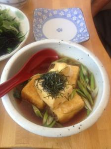 Agadashi tofu in the foreground; Sea vegetable salad in the background. Both were delicious!