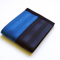 Billfold wallet in black and blue.