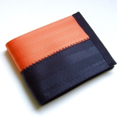 Billfold wallet in orange and black.