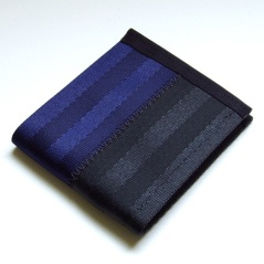 Billfold wallet in dark blue and black.