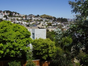 View from the back deck. You can see Corona Heights Park off in the distance.