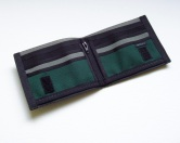 Interior view of our deluxe billfold with coin wallet.