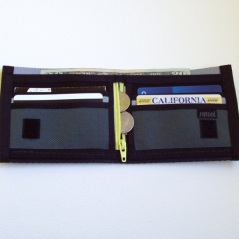 Interior view of our deluxe billfold wallet with coin pocket