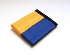 Billfold wallet in blue and gold.