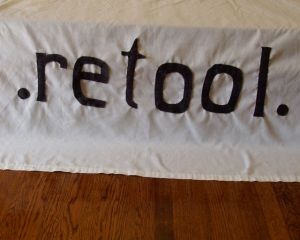 A new sign.  Still needs to be ironed!