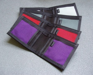 Small batch of nylon wallets made just for the show
