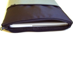 Our nylon laptop case has a zipper top and a front pocket.