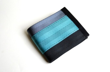 steel-black-aqua seatbelt wallet