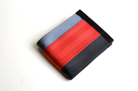 steel-black-red seatbelt wallet