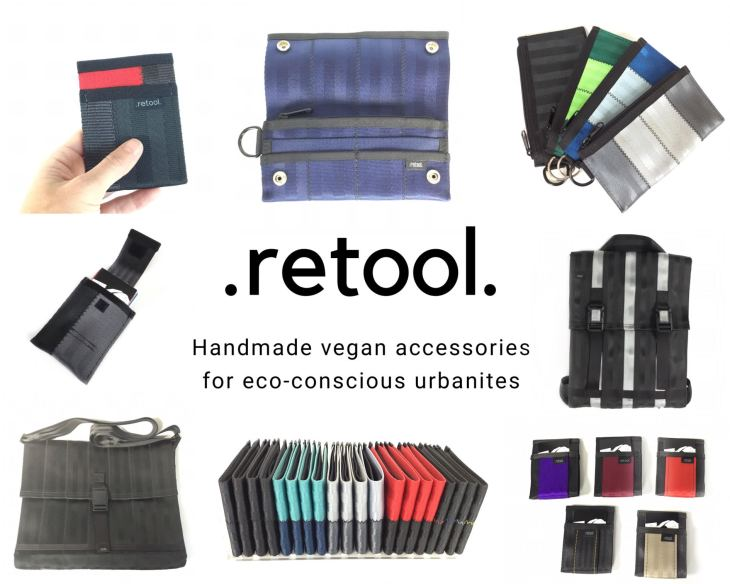 .retool. Handmade vegan accessories for eco-conscious urbanites. Images of various .retool. products.